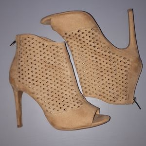 Forever 21 Camel/Tan Perforated Peep Toe Bootie